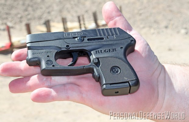 Ruger LCP .380, shown here with Laser-Guard sight from Crimson Trace, is barely larger than some .25 autos of yesteryear.