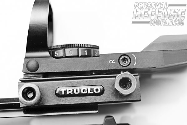 The TruGlo Open Red-Dot Sight features a 5-MOA reticle for quick acquisition.