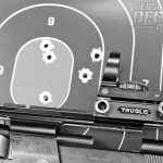 This five-shot group was achieved with the author's handload, comprised of Hodgdon Longshot and the Hornady 115-gr. XTP.
