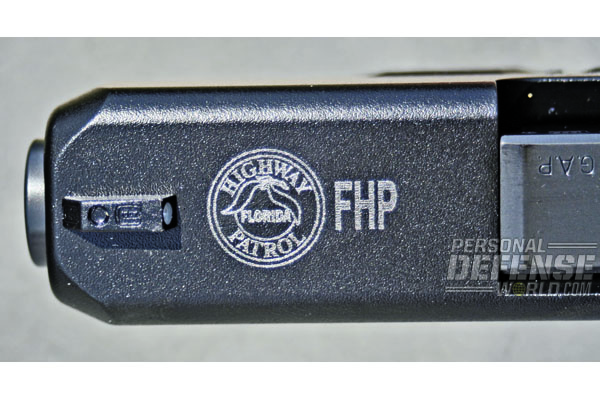 GLOCK 39s for plainclothes and admin personnel have the same logo engraved as on G37 Gen4s issued to road troopers.