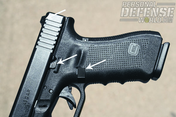 GLOCK 37 Gen4. Reversible enlarged magazine catch is new; oversize slide lock lever has been standard on G37 since its inception in 2003.