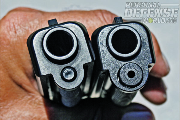 GLOCK 37 Gen4 spring system, right, is not interchangeable with that of earlier G37, left. Note difference in size of recoil spring guide, located below muzzle.