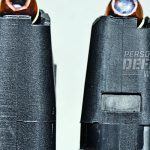 Original-style GLOCK 37 magazine is at left; GLOCK 37 Gen4 mag, at right with Speer 200-gr. Gold Dot, cut for ambidextrous magazine catch.