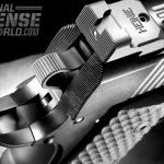 """Heinie ledge fixed rear sight, with tritium inserts in the """"Straight Eight"""" pattern."""