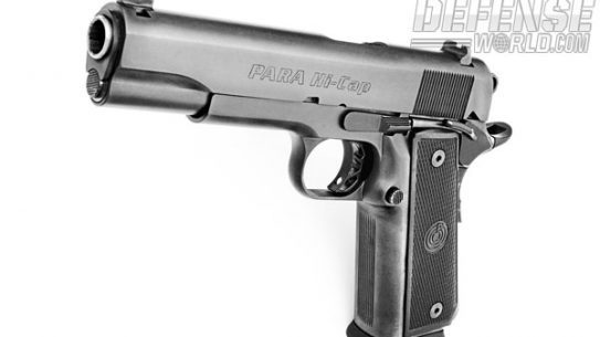 With a wide grip frame and capacity of 14+1, the P14-45 has a durable matte black PK2 finish. Note the skeletonized competition trigger and hammer, extended thumb safety and beavertail grip safety.