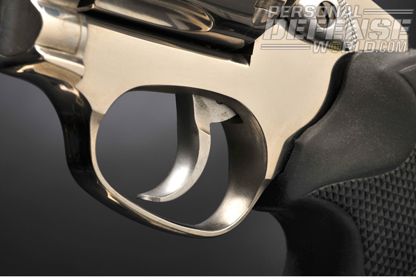 For deliberate double-action shooting, the trigger is smooth, wide and contoured for easy use.