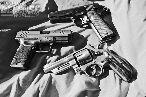 Delivery systems in .45 ACP include the Colt LW Commander (top), Springfield Armory XD Compact (middle) and S&W 625 (bottom).