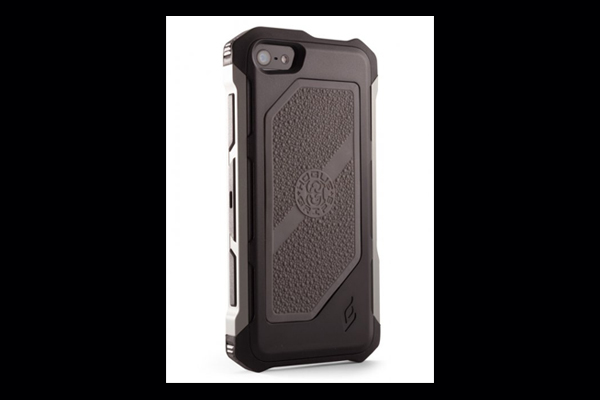 HEC iPhone 5 Rogue Black-Ops | Belt Holster | Black TPU Cover Gun Metal Grey Aluminum-Rails | Grey Cobblestone Rubber