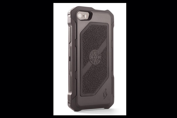 HEC iPhone 5 Rogue Black-Ops | Belt Holster | Black TPU Cover Gun Metal Grey Aluminum-Rails | Black Cobblestone Rubber