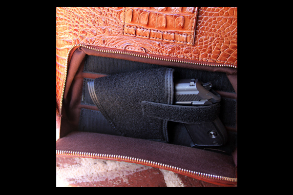 Concealed Carrie Crocodile Print Leather Hobo Bag