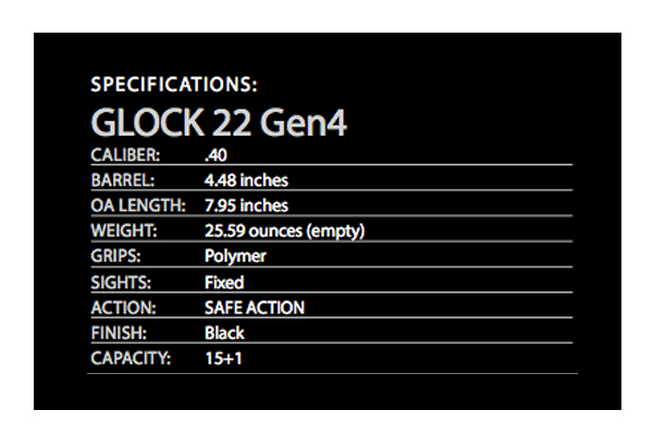 Glock 22 gen4 specifications