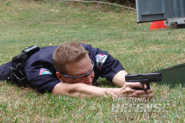 Glock 22 officer beane shooting from the ground
