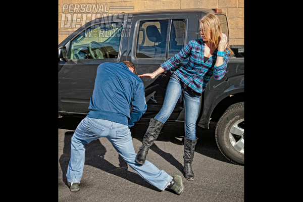 4.) Stomp down into your attacker's knee, destroying his mobility and creating the opportunity for you to escape.