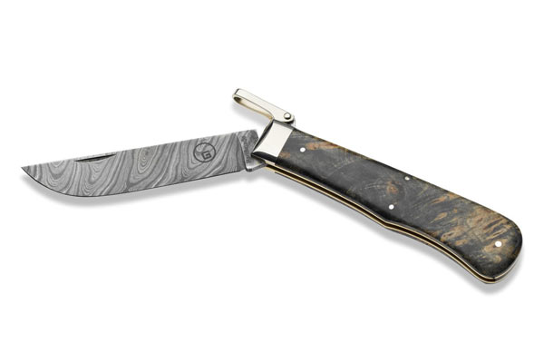 Gaston J. Glock style LP's Meteorite Damascus Pocket Knife