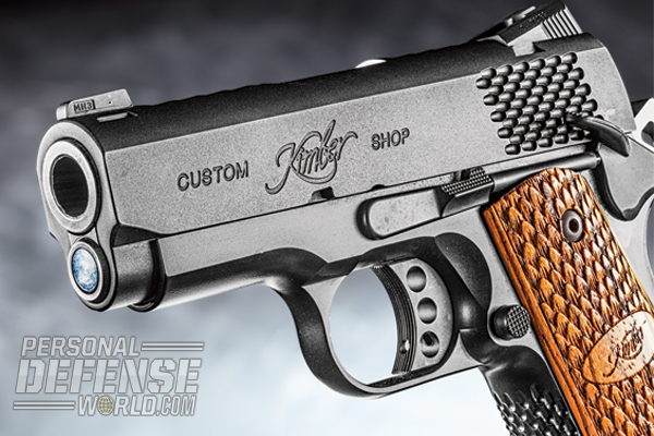 The short, 3-inch bull barrel mates directly with the slide of the compact Kimber Ultra Raptor II.