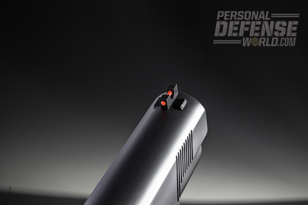 Capping the gun is an easily seen fiber-optic front sight.