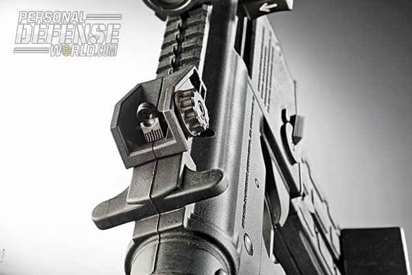 A rear peep sight was easy to adjust for windage using a knob mounted on the right side of the sight housing.