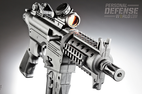 Optics can be added to the gun's flattop rail, allowing the shooter to co-witness the factory sights.