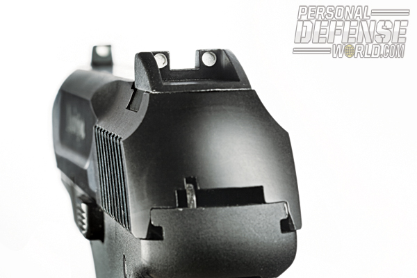 The R51's white three-dot sights are easy to acquire and dovetailed into the slide so that replacement night sights can be readily installed.