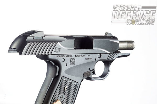 The R51's positive grip safety requires a firm grip to operate. Note the pistol's ambidextrous mag release.