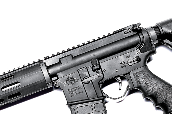 The Picatinny rail runs along only on the top surface of the handguard, leaving the other seven sides smooth for a more comfortable hold.