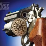 The cylinder release button is instinctive to engage, allowing the shooter to easily empty and load the cylinder.