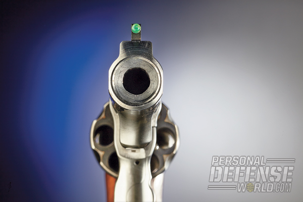 The GP100 features a tall front sight with a green fiber-optic insert.