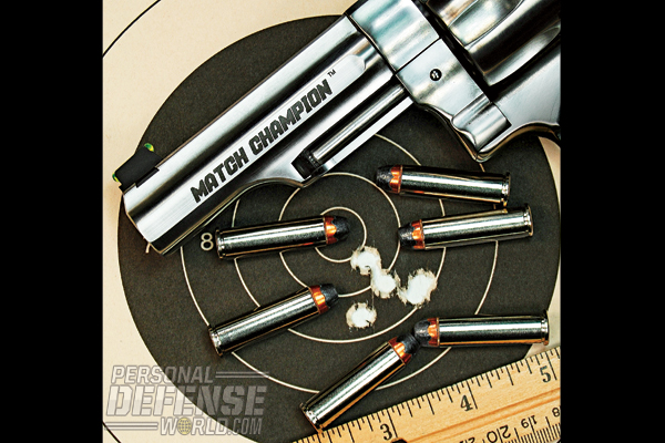 The GP100 Match Champion proved impressively accurate, achieving some very tight groups at 25 yards.