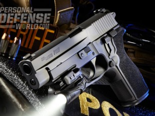 Made in America, the P227 is among a short list of full-size pistols that offer at least 10 rounds of .45 ACP. Shown here with a Crimson Trace CMR-203 Rail Master.