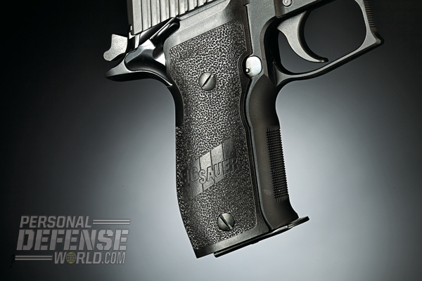 The P226's palm-swell grip holds a 15-round, double stack magazine.