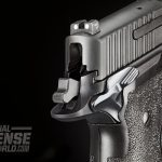 The P226 Elite SAO includes ambi manual safeties, a spurred hammer and extended beavertail to prevent hammer bite.