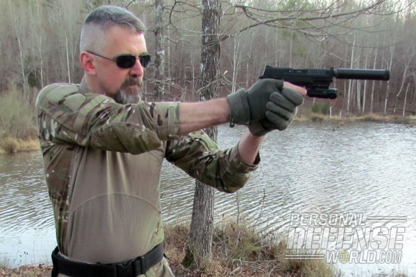 The S&W M&P22 can easily accept suppressors through the use of an inexpensive thread adaptor.