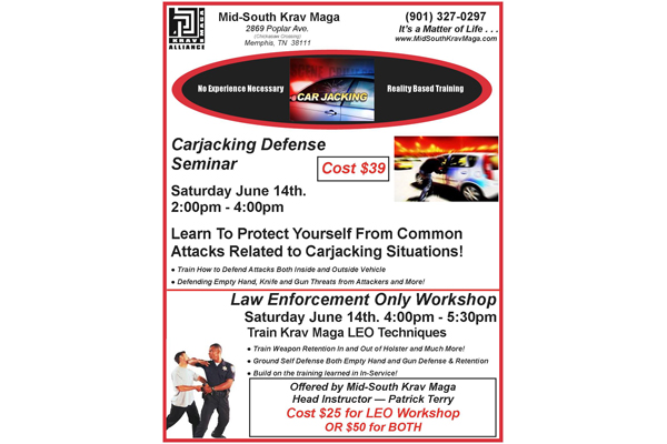 Mid-South Krav Maga will host a two-hour carjacking self-defense seminar this weekend.