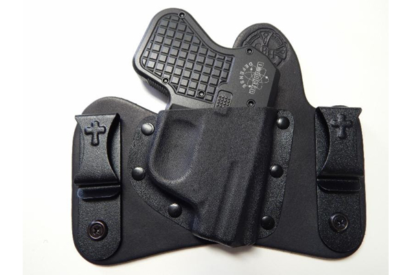 A CrossBreed MiniTuck holstering a Double Tap Tactical Pocket Pistol.