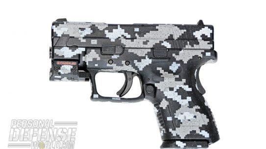 The author's camo-DuraCoated Springfield XD pistol.