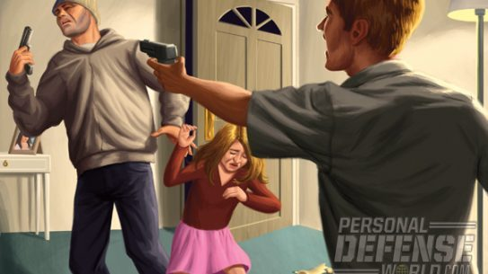 With his daughter in the burglar's grip, the homeowner took careful aim at the assailant and fired, freeing the child and ending the assault.