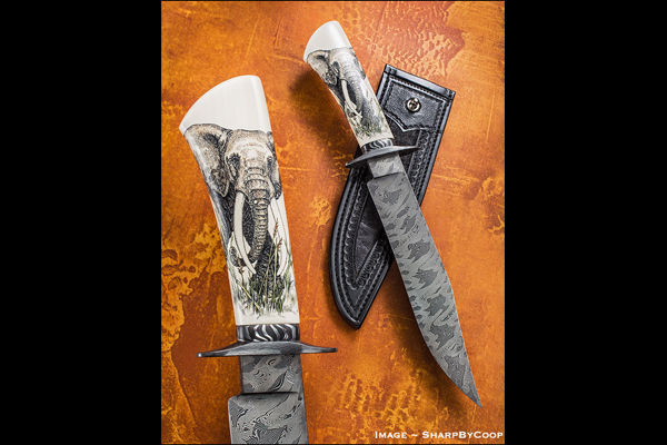"""Knife Rights is auctioning off """"Standing Our Ground"""" a custom-made collaboration bowie knife with a scrimshawed ivory handle, to raise funds to fight the ivory ban."""