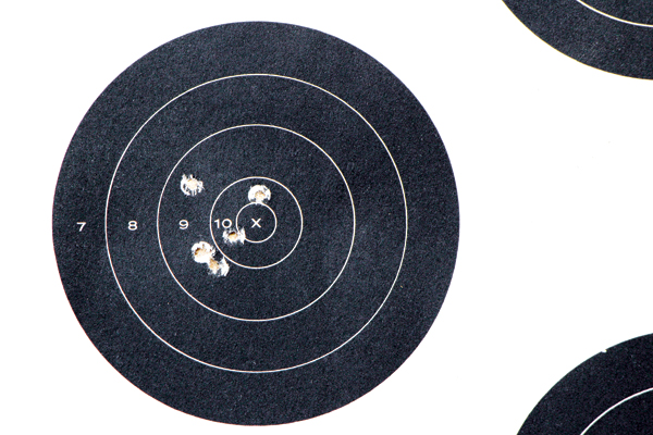"""""""Shooting from a rest at 25 yards, I achieved my best five-shot group with Remington's 36-grain Golden Bullet plated hollow-point load—0.88 inches."""""""