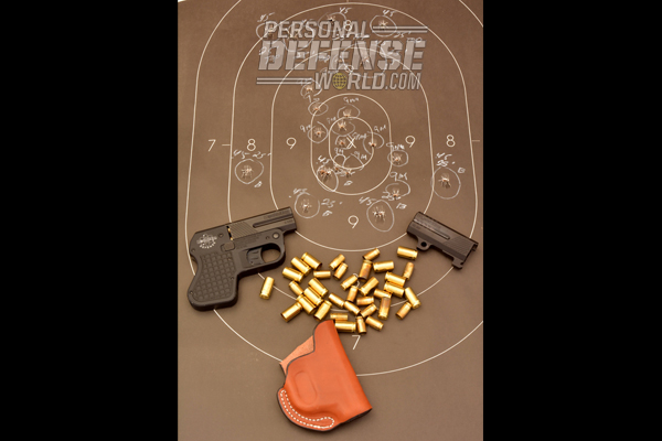 From 25 feet, the author was able to place eight rounds in the 10 and X bull with 9mm ammo. With the .45 ACP, the author placed five rounds across the 8 ring smf through the 9 and 10 rings.