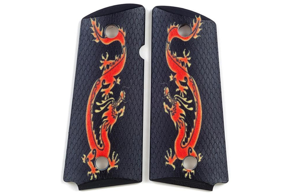 Rio Grande Custom Grips: Compact 1911 Red Dragon image grips with new RioGrip surface.