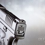The rear sights feature white dots that easily frame the red fiber-optic front sight.