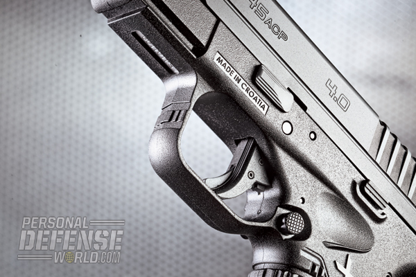All XD-S models employ a blade trigger safety. The serrated mag release is ambidextrous.