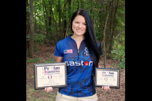 Brooke Sevigny won the Ladies Championship title and the 1st B-Class Title in the Amateur Open Division at the Pro-Am Shooting Championship.