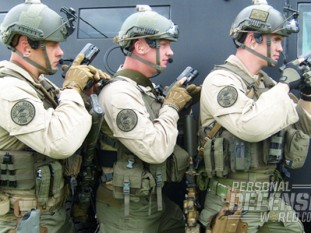 Three Kentucky SRT Troopers in full kit stack up with their issued GLOCK 35s in .40 cal.