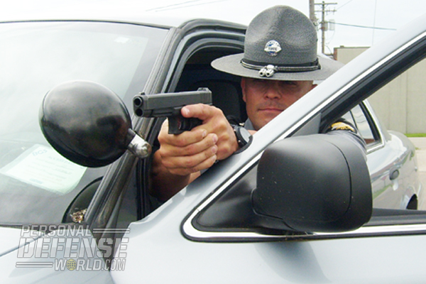A Kentucky State Trooper presents his GLOCK 35 while practicing a felony traffic stop.