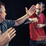 Reaction time is critical in life threatening situations. Stop his initial advancement with your forearm before he has a chance to press his deadly blade against your neck or throat!