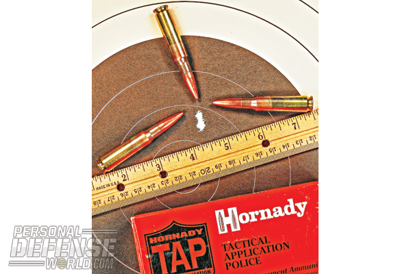 The best group of two range sessions was a three-shot set in 0.31 inches with the Hornady 168-grain TAP, at a full 200 yards.
