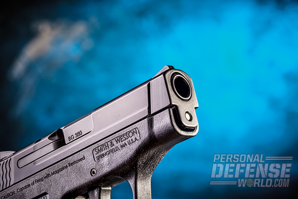 The 5.25-inch-long-overall M&P Bodyguard 380 features a muzzle slightly more streamlined and lighter than those on earlier Bodyguard models.