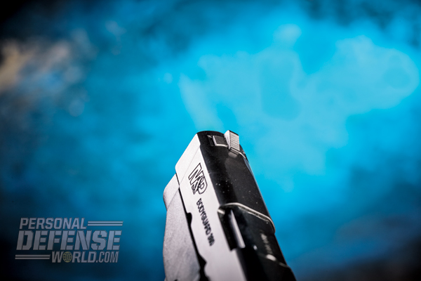The M&P Bodyguard's dovetailed front sight is large and windage-adjustable.
