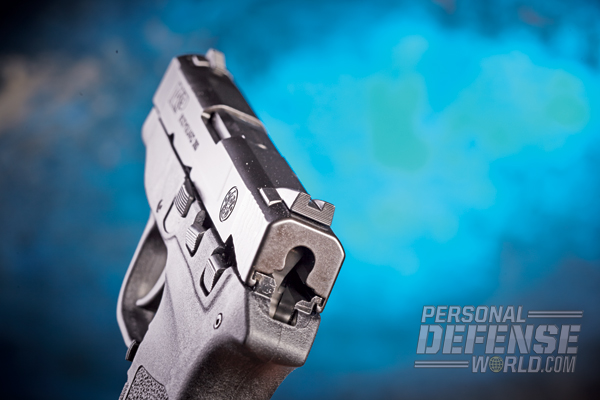 The notch rear sight features serrations on its rear face to enhance the sight picture in direct sunlight.